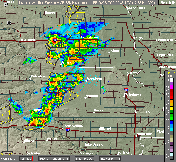Radar Image for Severe Thunderstorms near Rockham, SD at 6/7/2020 7:40 PM CDT