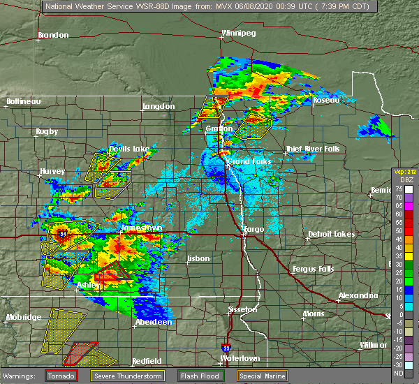 Radar Image for Severe Thunderstorms near Leal, ND at 6/7/2020 7:44 PM CDT