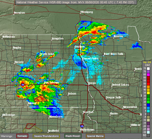 Radar Image for Severe Thunderstorms near Fort Totten, ND at 6/7/2020 7:47 PM CDT