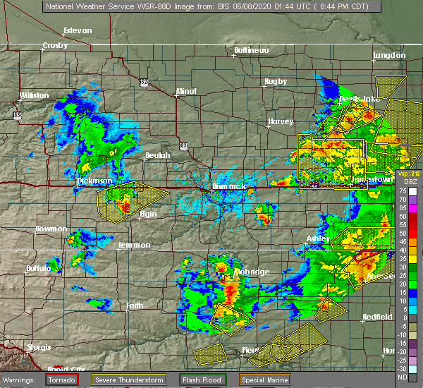 Radar Image for Severe Thunderstorms near Hebron, ND at 6/7/2020 7:48 PM MDT