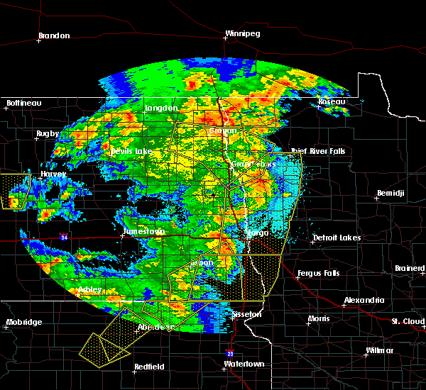 Radar Image for Severe Thunderstorms near Roseau, MN at 6/7/2020 10:07 PM CDT
