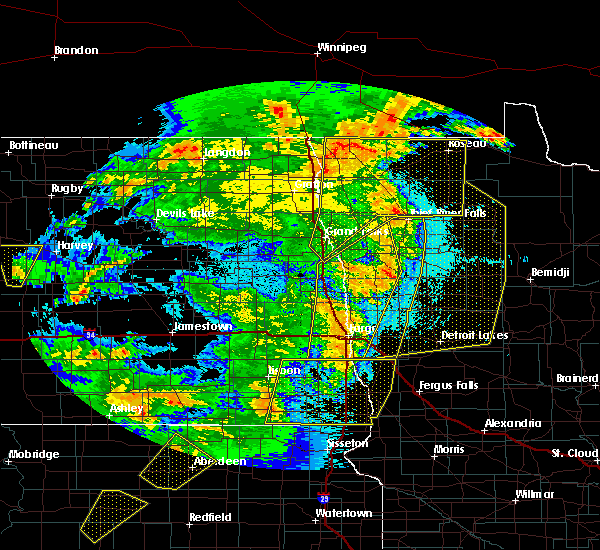 Radar Image for Severe Thunderstorms near Roseau, MN at 6/7/2020 10:27 PM CDT