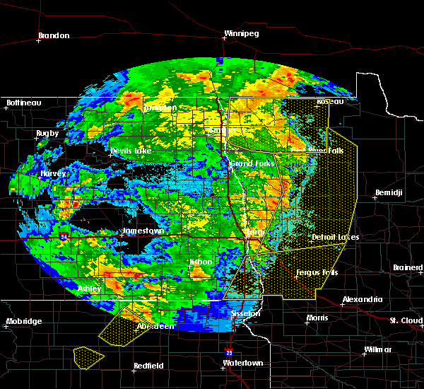 Radar Image for Severe Thunderstorms near Roseau, MN at 6/7/2020 10:36 PM CDT