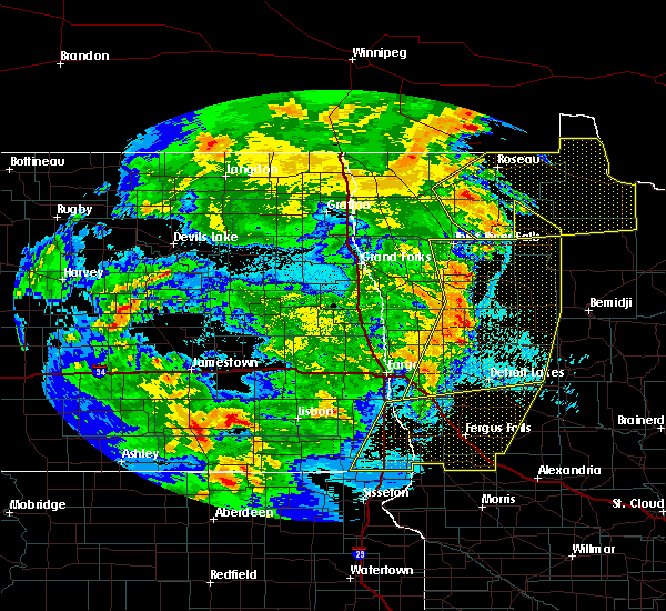 Radar Image for Severe Thunderstorms near Roseau, MN at 6/7/2020 10:48 PM CDT