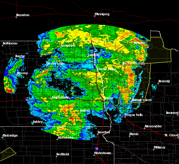 Radar Image for Severe Thunderstorms near Warroad, MN at 6/7/2020 11:30 PM CDT