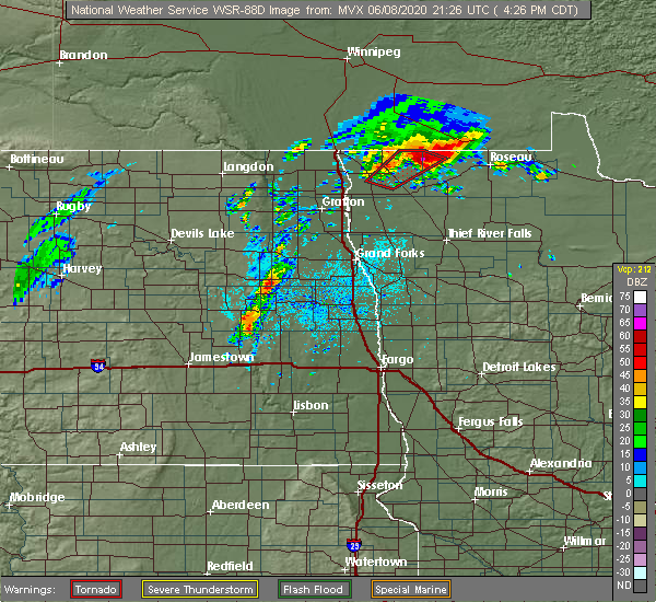 Radar Image for Severe Thunderstorms near Larimore, ND at 6/8/2020 4:29 PM CDT