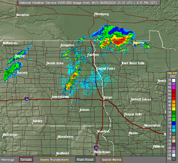 Radar Image for Severe Thunderstorms near Larimore, ND at 6/8/2020 4:37 PM CDT