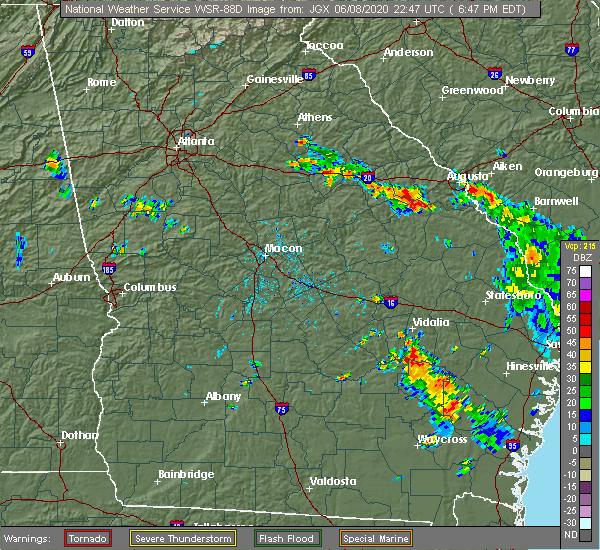 Radar Image for Severe Thunderstorms near Vidalia, GA at 6/8/2020 6:51 PM EDT