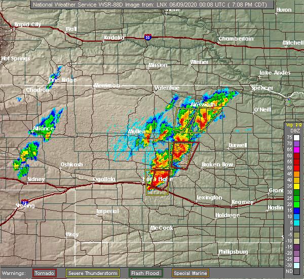 Radar Image for Severe Thunderstorms near Anselmo, NE at 6/8/2020 7:16 PM CDT