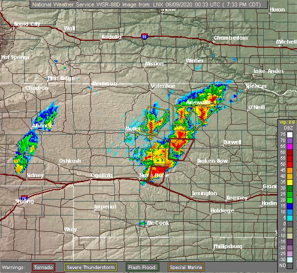 Radar Image for Severe Thunderstorms near Anselmo, NE at 6/8/2020 7:35 PM CDT