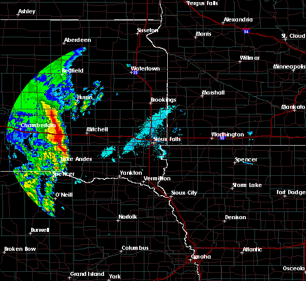 Radar Image for Severe Thunderstorms near Mitchell, SD at 6/9/2020 5:39 AM CDT