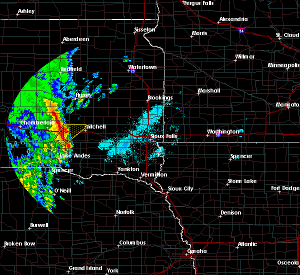 Radar Image for Severe Thunderstorms near Mitchell, SD at 6/9/2020 5:48 AM CDT