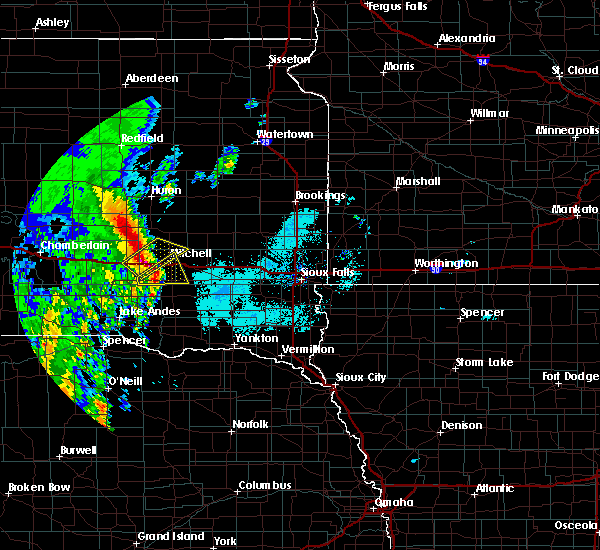 Radar Image for Severe Thunderstorms near Mitchell, SD at 6/9/2020 6:07 AM CDT