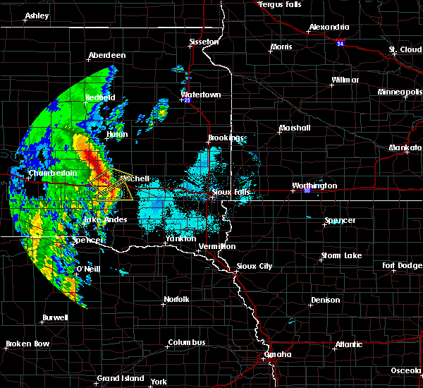 Radar Image for Severe Thunderstorms near Fulton, SD at 6/9/2020 6:13 AM CDT