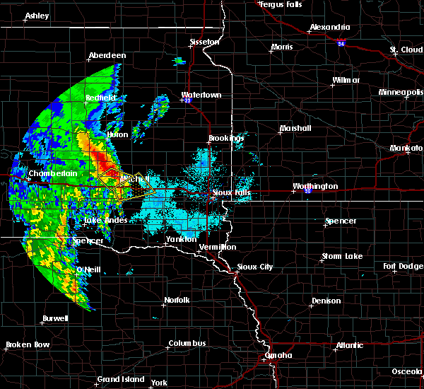 Radar Image for Severe Thunderstorms near Fedora, SD at 6/9/2020 6:26 AM CDT