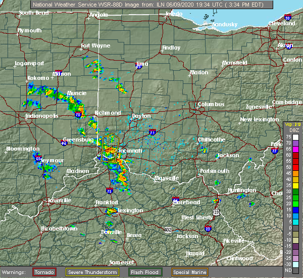 Radar Image for Severe Thunderstorms near Cleves, OH at 6/9/2020 3:41 PM EDT