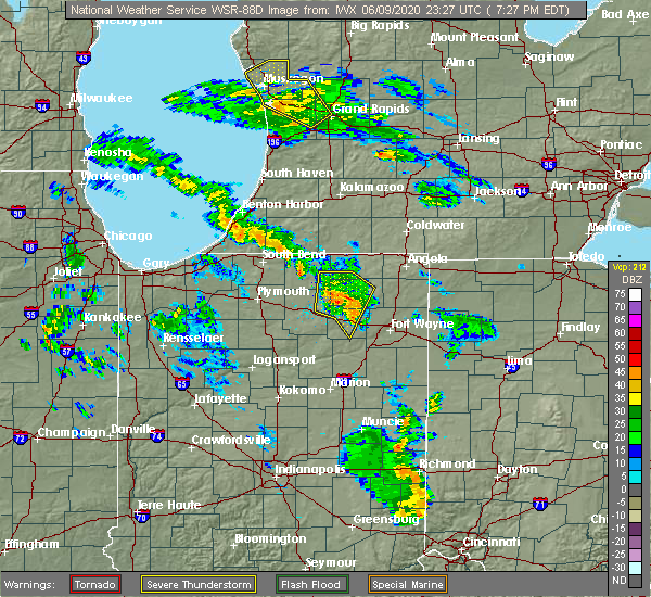 Radar Image for Severe Thunderstorms near Albion, IN at 6/9/2020 7:33 PM EDT