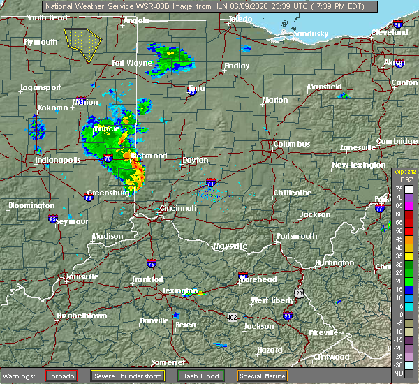Radar Image for Severe Thunderstorms near Brookville, OH at 6/9/2020 7:43 PM EDT