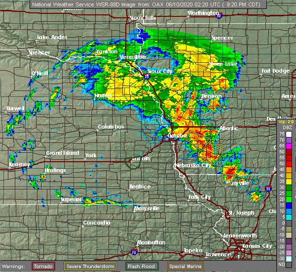 Radar Image for Severe Thunderstorms near Oakland, IA at 6/9/2020 9:27 PM CDT