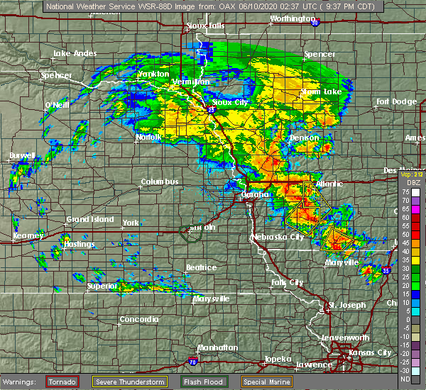 Radar Image for Severe Thunderstorms near Stanton, IA at 6/9/2020 9:39 PM CDT