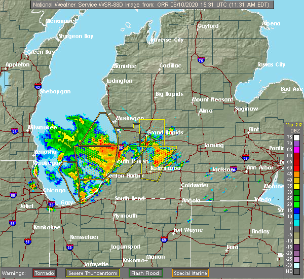 Radar Image for Severe Thunderstorms near Beechwood, MI at 6/10/2020 11:35 AM EDT