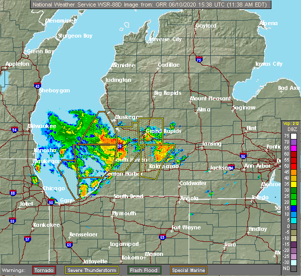 Radar Image for Severe Thunderstorms near Otsego, MI at 6/10/2020 11:46 AM EDT
