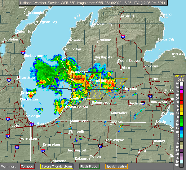 Radar Image for Severe Thunderstorms near Canadian Lakes, MI at 6/10/2020 12:12 PM EDT