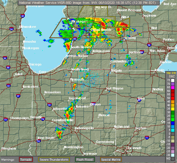 Radar Image for Severe Thunderstorms near Nappanee, IN at 6/10/2020 12:43 PM EDT