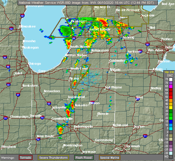 Radar Image for Severe Thunderstorms near Nappanee, IN at 6/10/2020 12:51 PM EDT