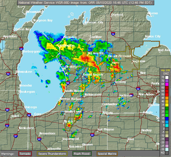Radar Image for Severe Thunderstorms near Canadian Lakes, MI at 6/10/2020 12:52 PM EDT