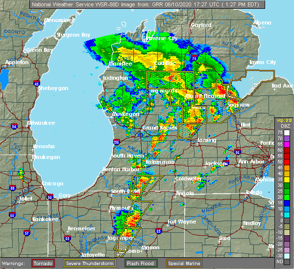Radar Image for Severe Thunderstorms near Vicksburg, MI at 6/10/2020 1:32 PM EDT