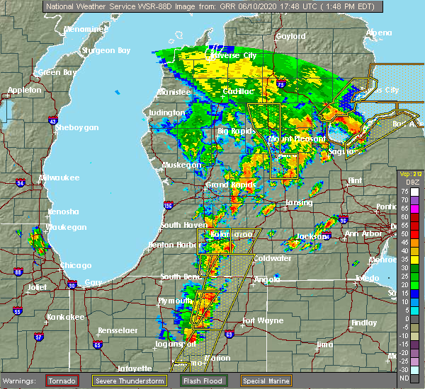 Radar Image for Severe Thunderstorms near Otsego, MI at 6/10/2020 1:53 PM EDT