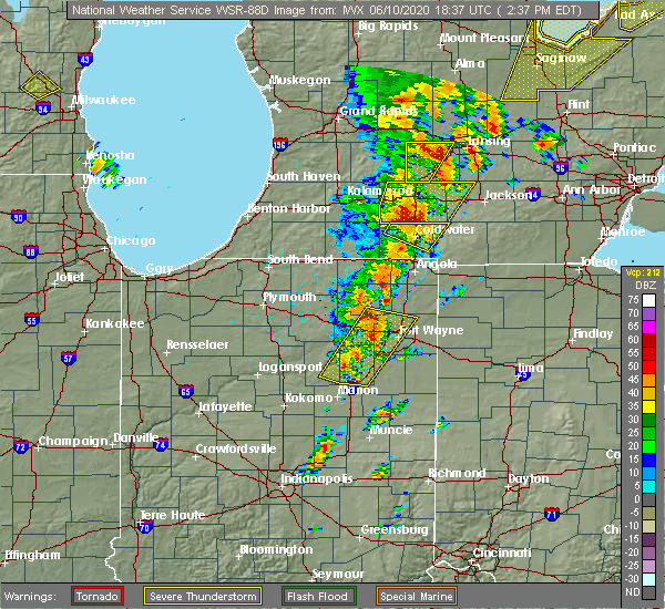 Radar Image for Severe Thunderstorms near Harlan, IN at 6/10/2020 2:43 PM EDT