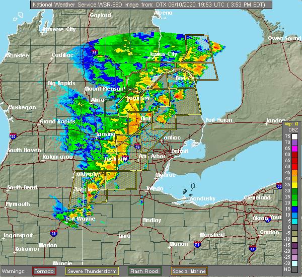 Radar Image for Severe Thunderstorms near Blissfield, MI at 6/10/2020 4:00 PM EDT