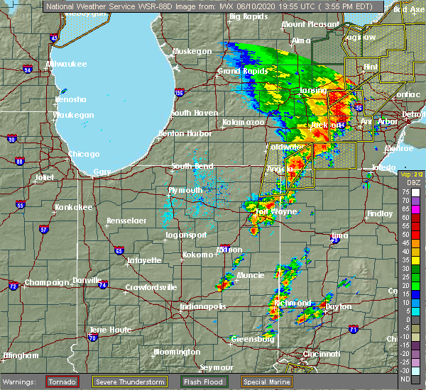 Radar Image for Severe Thunderstorms near Harlan, IN at 6/10/2020 4:01 PM EDT