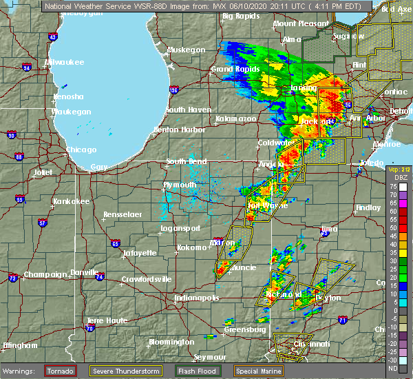 Radar Image for Severe Thunderstorms near Hartford City, IN at 6/10/2020 4:12 PM EDT