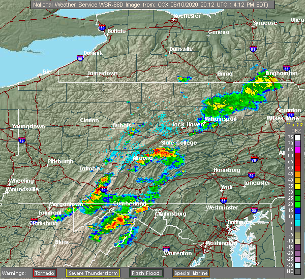 Radar Image for Severe Thunderstorms near Pine Grove Mills, PA at 6/10/2020 4:15 PM EDT