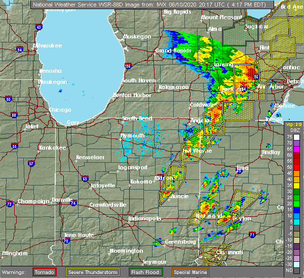 Radar Image for Severe Thunderstorms near Harlan, IN at 6/10/2020 4:18 PM EDT