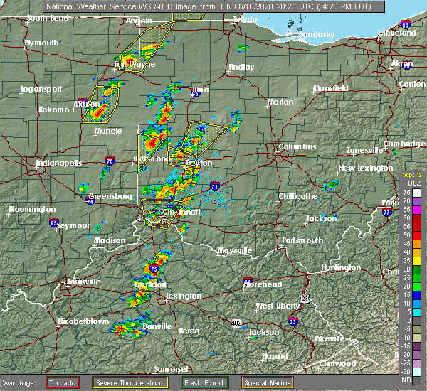Radar Image for Severe Thunderstorms near Fairfax, OH at 6/10/2020 4:26 PM EDT