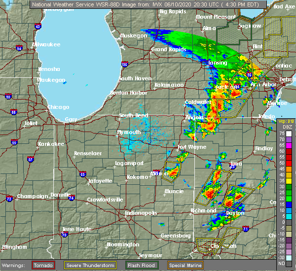 Radar Image for Severe Thunderstorms near Sherwood, OH at 6/10/2020 4:35 PM EDT