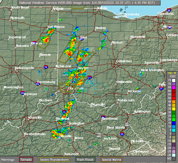 Radar Image for Severe Thunderstorms near New Bremen, OH at 6/10/2020 4:38 PM EDT