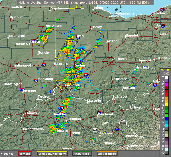 Radar Image for Severe Thunderstorms near Loveland, OH at 6/10/2020 4:37 PM EDT