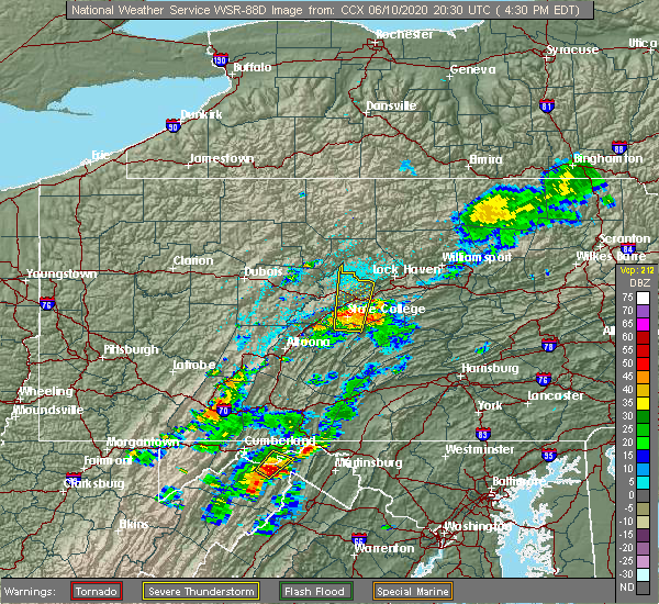 Radar Image for Severe Thunderstorms near Park Forest Village, PA at 6/10/2020 4:37 PM EDT