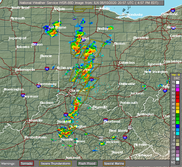 Radar Image for Severe Thunderstorms near Falmouth, KY at 6/10/2020 5:00 PM EDT