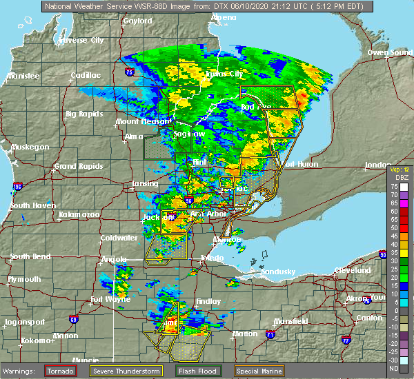 Radar Image for Severe Thunderstorms near Dundee, MI at 6/10/2020 5:20 PM EDT