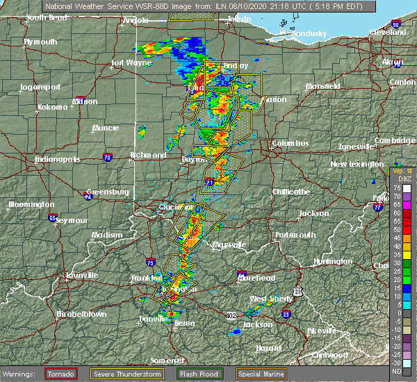 Radar Image for Severe Thunderstorms near Springfield, OH at 6/10/2020 5:26 PM EDT
