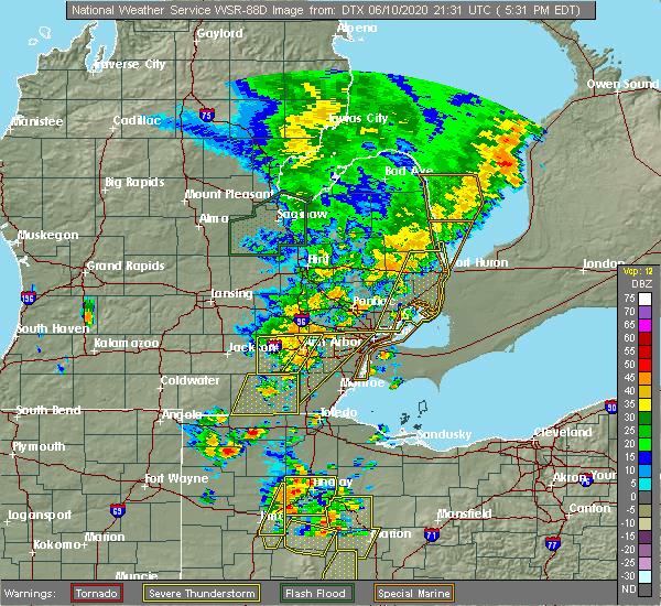 Radar Image for Severe Thunderstorms near Dundee, MI at 6/10/2020 5:33 PM EDT