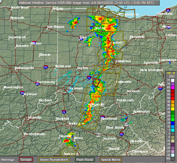 Radar Image for Severe Thunderstorms near Leesburg, OH at 6/10/2020 6:02 PM EDT
