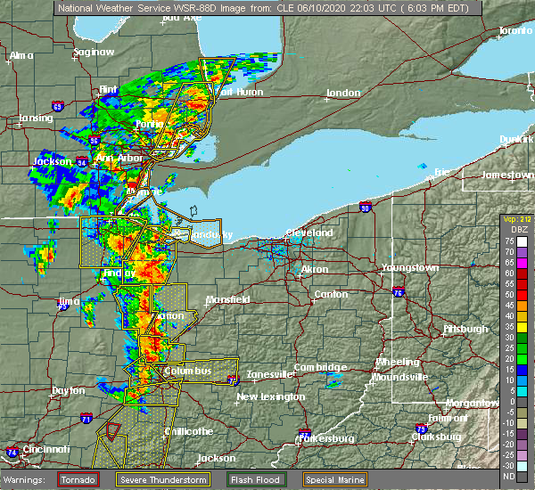 Radar Image for Severe Thunderstorms near New Riegel, OH at 6/10/2020 6:06 PM EDT