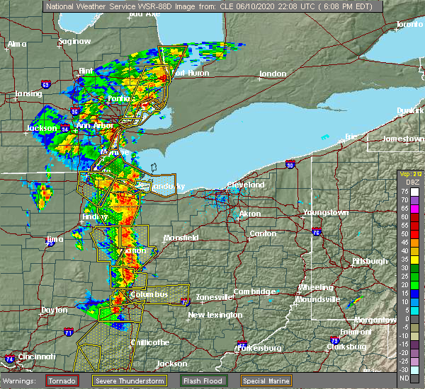 Radar Image for Severe Thunderstorms near Monroeville, OH at 6/10/2020 6:14 PM EDT